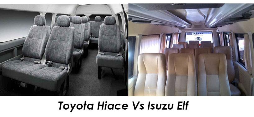 Kenyamanan Mobil Toyota Hiace Dan Isuzu Elf lebih unggul Mana